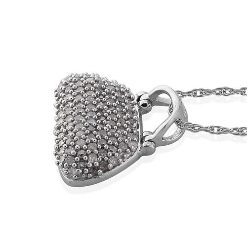 Diamond (Rnd) Purse Pendant With Chain in Platinum Overlay Sterling Silver 0.750 Ct.