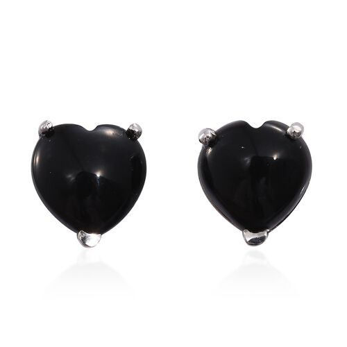 Black Onyx (Hrt) Stud Earrings (with Push Back) in Platinum Overlay Sterling Silver 6.500 Ct.