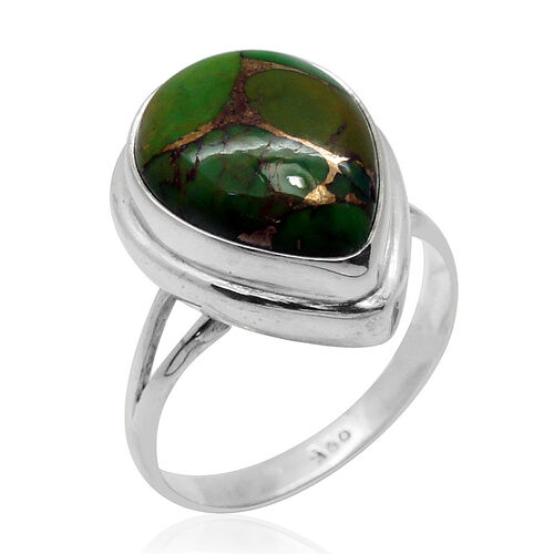 Royal Bali Collection Mojave Green Turquoise (Pear) Solitaire Ring in Sterling Silver 6.730 Ct.