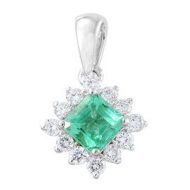 ILIANA 18K W Gold AAA Boyaca Colombian Emerald (Oct 0.85 Ct), Diamond (SI/G-H) Pendant 1.150 Ct.