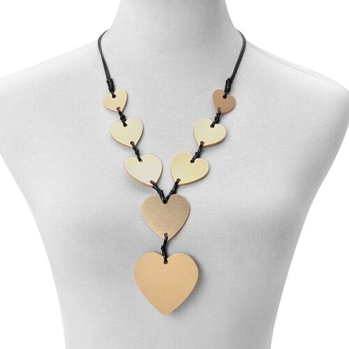 Heart Adjustable Necklace (Size 32) in Yellow Gold Tone