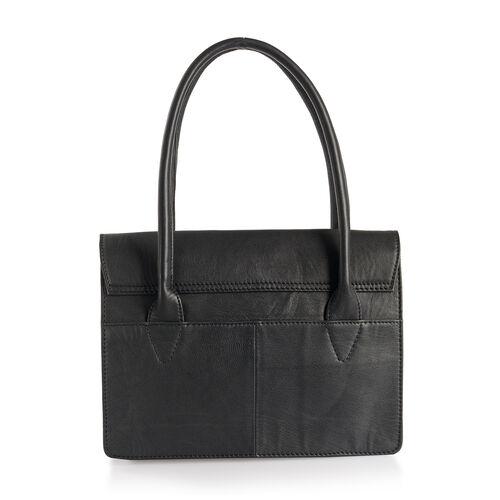 100% Genuine Leather RFID Blocker Black Colour Tote Bag with Gemstone Adorned Tassel Charm (Size 32X24 Cm)