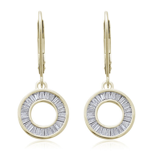 9K Yellow Gold 0.50 Carat Diamond Circle of Life Lever Back Earrings SGL Certified (I3/G-H)