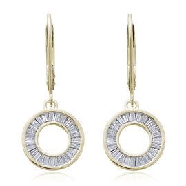 9K Yellow Gold SGL Certified Diamond (Bgt) (I3/G-H) Circle of Life Lever Back Earrings 0.500 Ct.