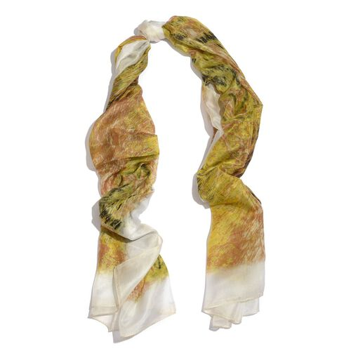 100% Mulberry Silk Green, Chocolate and Multi Colour Abstract Pattern Scarf (Size 195x100 Cm)