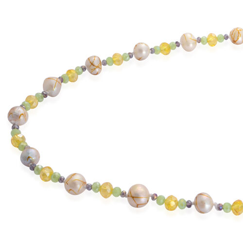 Fresh Water White Pearl and Simulated Multi Colour Diamond Necklace (Size 48)