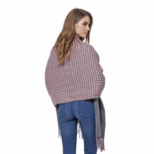 Designer Inspired-Pink and Grey Colour Houndstooth and Stripe Pattern Knitted Reversible Shawl with Tassels (Size 180X60 Cm)