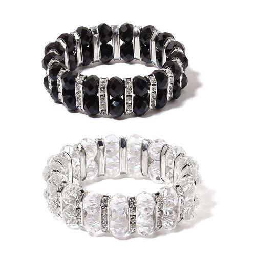 Set of 2 - Simulated White and Black Diamond and White Austrian Crystal Stretchable Bracelet (Size 7.5) in Silver Tone