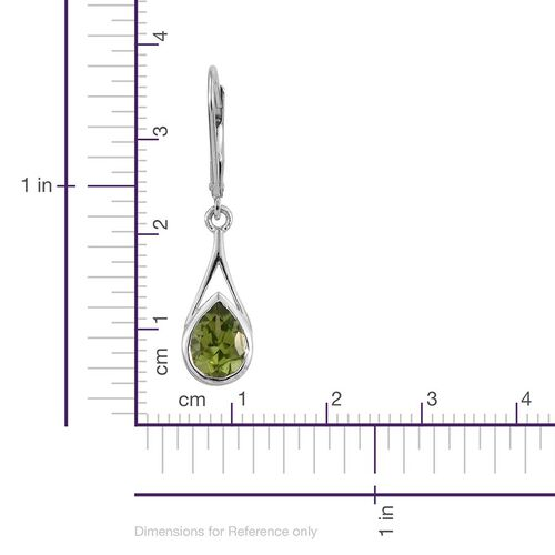 AA Hebei Peridot (Pear) Lever Back Earrings in Platinum Overlay Sterling Silver 2.500 Ct.