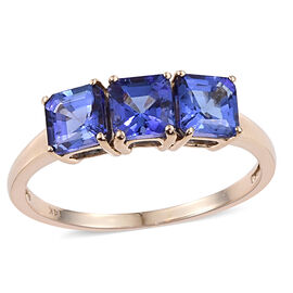 New York Collection 14K Y Gold Asscher Cut AAA Tanzanite Trilogy Ring 2.250 Ct.