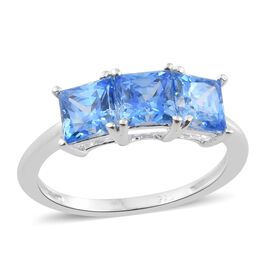 J Francis - Sterling Silver (Sqr) Trilogy Ring Made with Arctic Blue SWAROVSKI ZIRCONIA