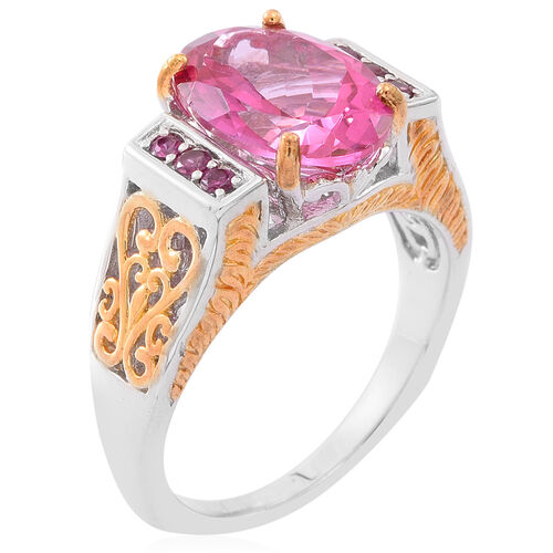 New York Closeout-Mystic Pink Coated Topaz (Ovl 7.00 Ct), Rhodolite Garnet Ring in Rhodium and Gold Overlay Sterling Silver 7.250 Ct.