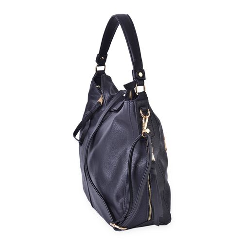 Black Colour Hobo Bag with External Zipper Pocket and Adjustable and Removable Shoulder Strap (Size 41x32x28x12.5 Cm)