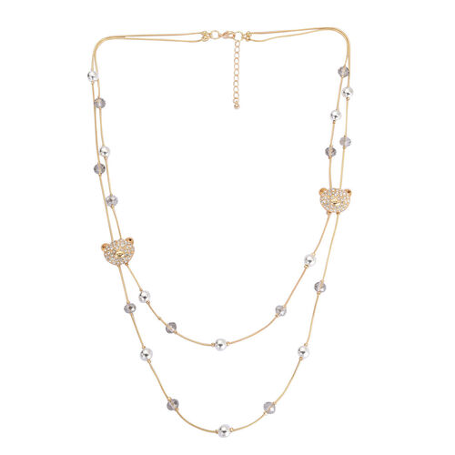 White Austrian Crystal and Grey Glass Double Strand Necklace (Size 24 with 3 inch Extender) in Gold Tone