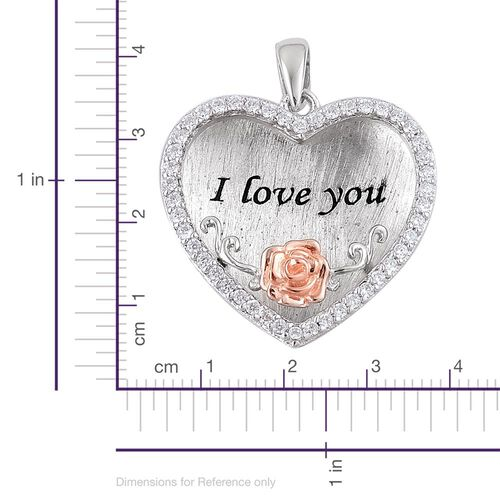 ELANZA AAA Simulated White Diamond Love Inscription Heart Pendant in Rhodium and Rose Gold Overlay Sterling Silver