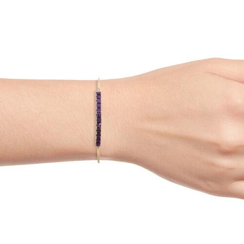 Designer Inspired- ASSCHER CUT Amethyst Bolo Bracelet (Size 6.5 to 8) in 14K Gold Overlay Sterling Silver 4.500 Ct.