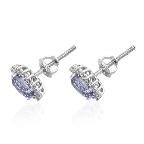 ILIANA 18K White Gold 1.25 Carat AAA Ceylon Blue Sapphire, Diamond (SI/G-H) Stud Earrings (with Screw Back)