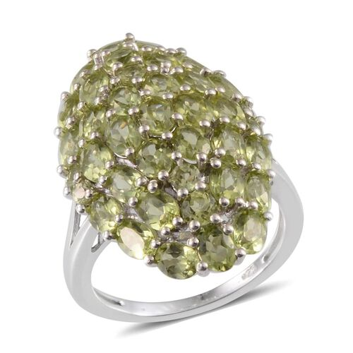 AA Hebei Peridot (Ovl) Cluster Ring in Platinum Overlay Sterling Silver 6.300 Ct.