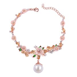 Jardin Collection - South Sea White Pearl (Rnd 12-12.5mm), Citrine and Multi Gemstone Buttercup flower Bracelet (Size 6.5 with 1.5 inch Extender) in Rose Gold Overlay Sterling Silver