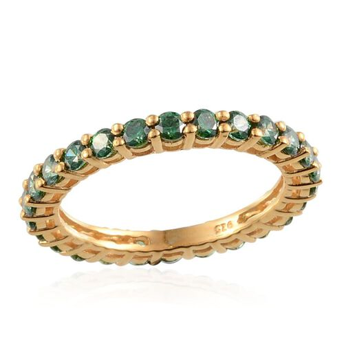 J Francis Yellow Gold Plated Silver 1.50 Carat Made With Green Swarovski Zirconia Full Eternity Ring
