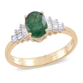 ILIANA 18K Yellow Gold AAA Kagem Zambian Emerald (Ovl 1.15 Ct), Diamond (SI/G-H) Ring 1.250 Ct.