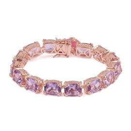 Rose De France Amethyst (Cush), Pink Jade Bracelet (Size 7.75) in Rose Gold Overlay Sterling Silver 54.750 Ct. Silver wt 21.50 Gms.