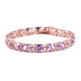 Rose De France Amethyst (Cush), Pink Jade Bracelet (Size 8.5) in Rose Gold Overlay Sterling Silver 57.500 Ct. Silver wt 22.00 Gms.