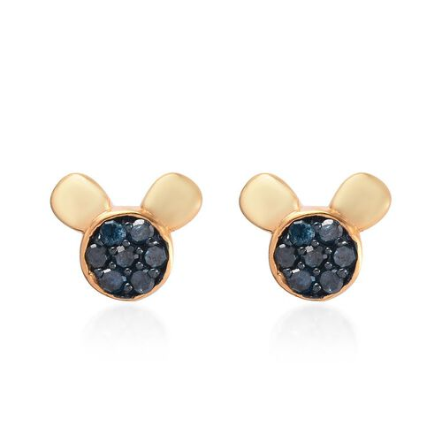 Blue Diamond Mickey Mouse Face Stud Earrings (with Push Back) in Yellow Gold Vermeil and Black Rhodium Plated Sterling Silver