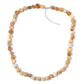 Limited One Time Deal- Rare Finest Fossil Coral Necklace (Size 18 with 2 inch Extender) in Rhodium Plated Sterling Silver 175.000 Ct.
