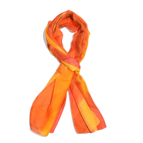100% Mulberry Silk Orange, Red and Multi Colour Handscreen Printed Scarf (Size 180x50 Cm)