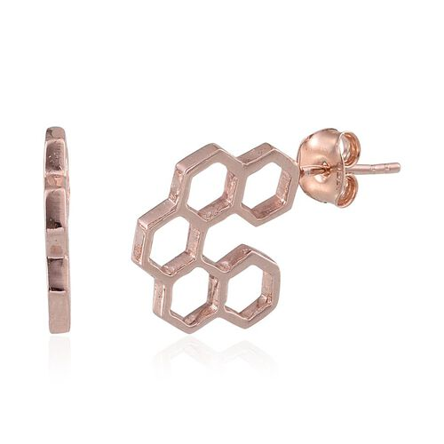 Rose Gold Overlay Sterling Silver Honey Comb Earrings (with Push Back)