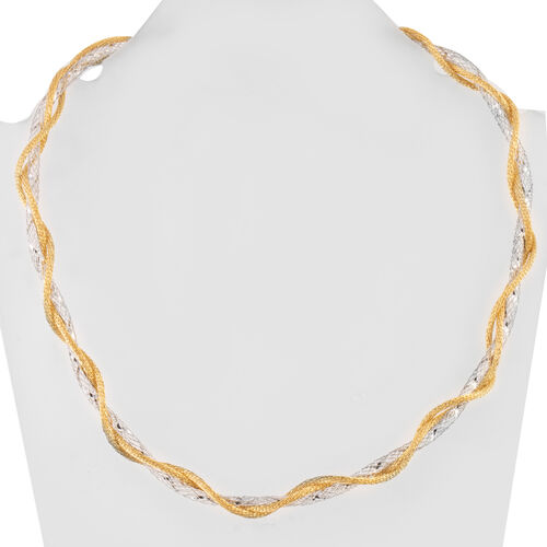 Close Out Deal Yellow Gold Overlay and Sterling Silver Mesh Necklace (Size 20), Silver wt 15.98 Gms.