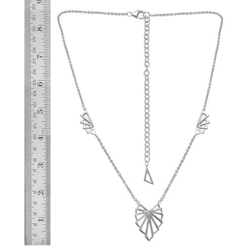 LucyQ Art Deco Necklace (Size 16 with 4 inch Extender) in Rhodium Plated Sterling Silver 13.44 Gms.
