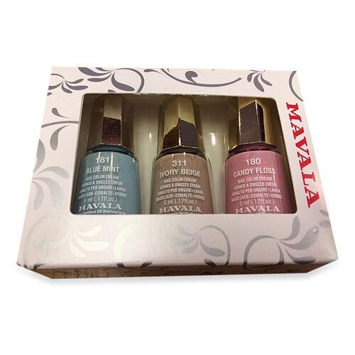 MAVALA- 3 pcs Nail Polish Set 2 -  Blue Mint 181, Candy Floss 180 and Ivory Beige 311