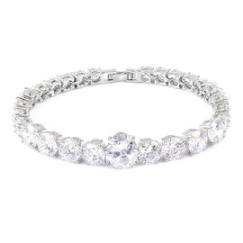 AAA Simulated White Diamond Bracelet (Size 7.5) in Silver Plated