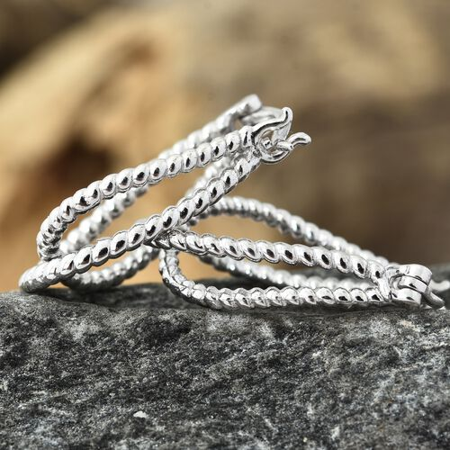 Designer Inspired-Platinum Overlay Sterling Silver Hoop Earrings (with Clasp), Silver wt 4.99 Gms.