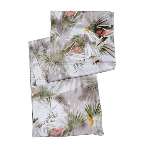 100% Natural Bamboo Fabric Multi Colour Leaves Pattern White Colour Scarf (Size 180x50 Cm)