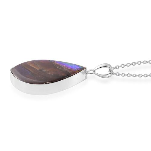 (Option 1) Canadian Ammolite Pendant With Chain in Rhodium Plated Sterling Silver 22.750 Ct.