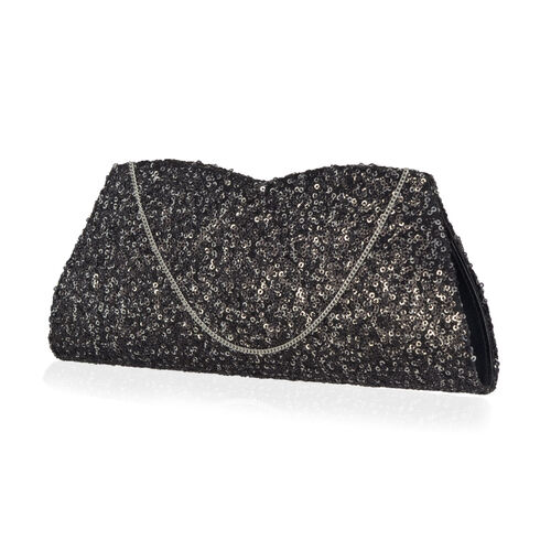 Black Colour Satin Clutch Bag with Silver Sequins and Chain Strap (Size 26x10 Cm)