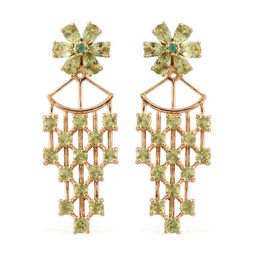 Designer Inspired-Hebei Peridot (Rnd), Kagem Zambian Emerald Earrings (with Push Back) in 14K Gold Overlay Sterling Silver 5.315 Ct.