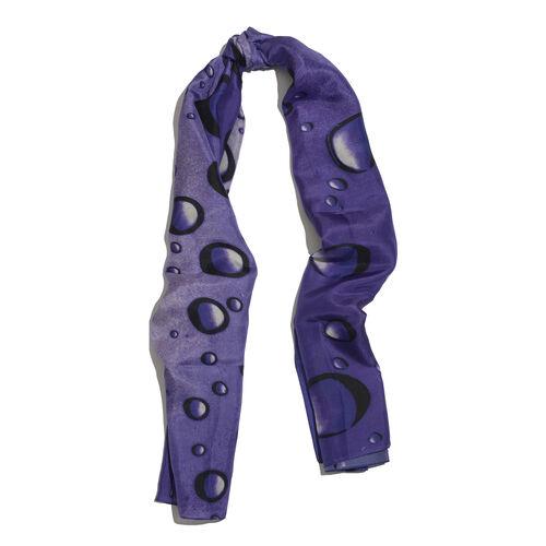 LucyQ 100% Mulberry Silk Digital Print Bubble Pattern Purple Colour Scarf (Size 170x100 Cm) 40 Grms.