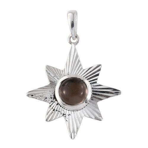 Artisan Crafted Brazilian Smoky Quartz (Rnd) Star Pendant in Sterling Silver