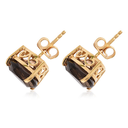 Brazilian Smoky Quartz (Trl) Stud Earrings (with Push Back) in 14K Gold Overlay Sterling Silver 6.00 Ct.q