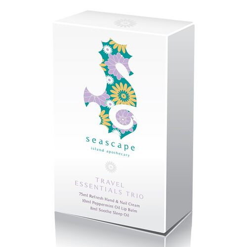 Seascape-Travel Essential Trio 75ml Refresh Hand and Nail Cream, 10ml Peppermint Lip Balm and 8ml Soothe Sleep Oil