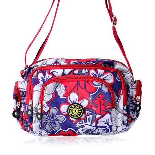 Red, Blue and Multi Colour Floral Pattern Sports Bag With External Zipper Pocket and Adjustable Shoulder Strap (Size 25x18x10 Cm)