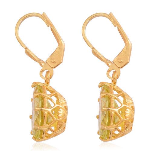Lemon Quartz (Pear) Lever Back Earrings in 14K Gold Overlay Sterling Silver 5.000 Ct.