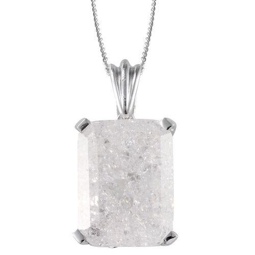 White Crackled Quartz (Oct) Solitaire Pendant With Chain in Platinum Overlay Sterling Silver 13.000 Ct.