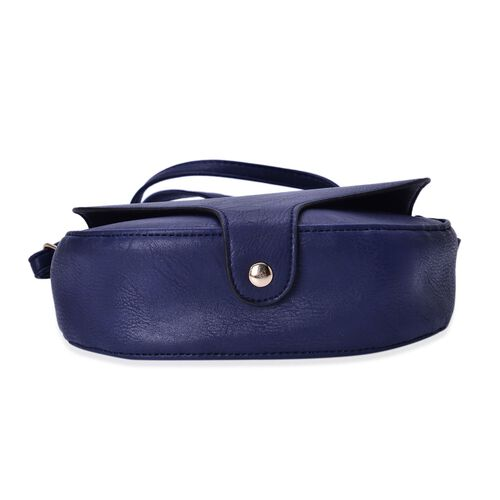 Navy Colour Crossbody Saddle Bag with Adjustable Shoulder Strap (Size 20x17x6 Cm)