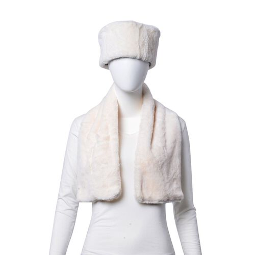 Set of 2 - White Colour Headband (Size 45x10 Cm) and Scarf (Size 90x15 Cm)