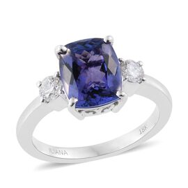 ILIANA 18K White Gold 3.05 Ct AAA Tanzanite Ring with Diamond SI G-H